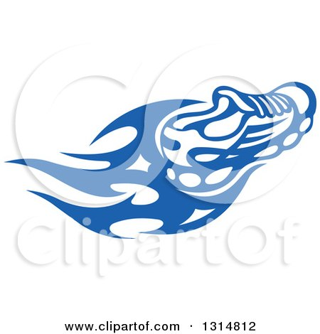 Clipart of a Blue Tribal Flaming Sports Shoe 3 - Royalty Free Vector Illustration by Vector Tradition SM