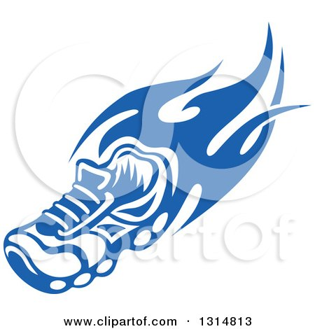 Clipart of a Blue Tribal Flaming Sports Shoe 4 - Royalty Free Vector Illustration by Vector Tradition SM