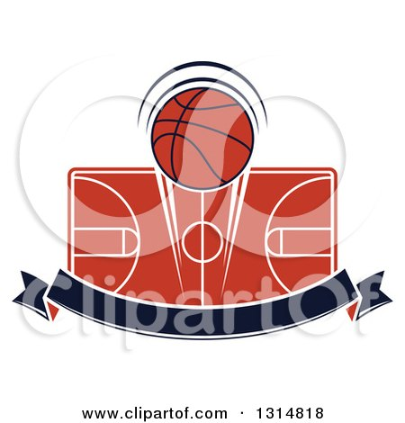 Clipart of a Basketball over a Court and Blank Navy Blue Ribbon Banner - Royalty Free Vector Illustration by Vector Tradition SM