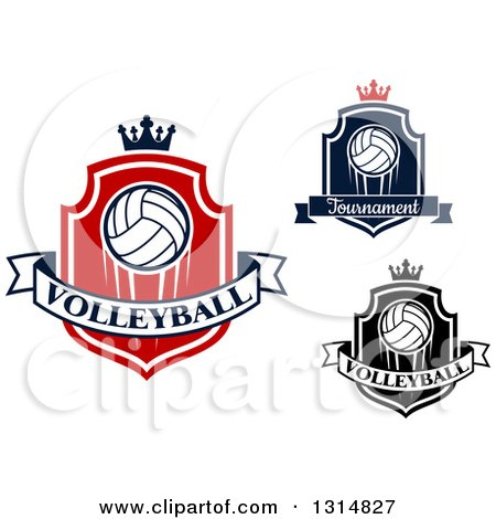 Clipart of Volleyball Shields with Crowns and Text Banners - Royalty Free Vector Illustration by Vector Tradition SM