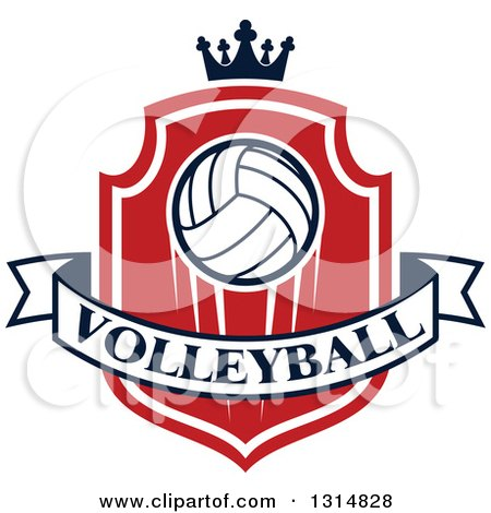 Clipart of a Volleyball on a Red and White Shield with a Crown and Text Banner - Royalty Free Vector Illustration by Vector Tradition SM
