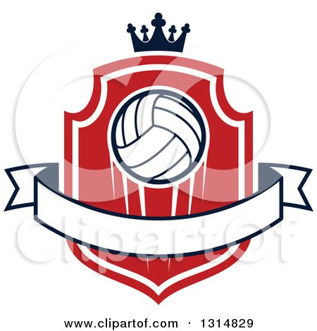 Clipart of a Volleyball on a Red and White Shield with a Crown and Blank Ribbon Banner - Royalty Free Vector Illustration by Vector Tradition SM