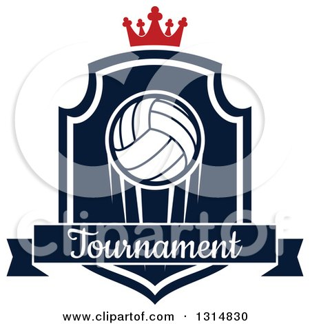 Clipart of a Volleyball on a Navy Blue and White Shield with a Crown and Tournament Text Banner - Royalty Free Vector Illustration by Vector Tradition SM