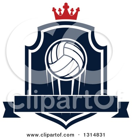 Clipart of a Volleyball on a Navy Blue and White Shield with a Crown and Blank Ribbon Banner - Royalty Free Vector Illustration by Vector Tradition SM