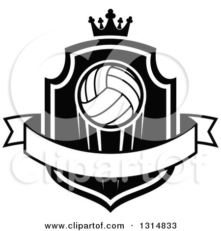 Clipart of a Black and White Volleyball on a Shield with a Crown and Blank Ribbon Banner - Royalty Free Vector Illustration by Vector Tradition SM