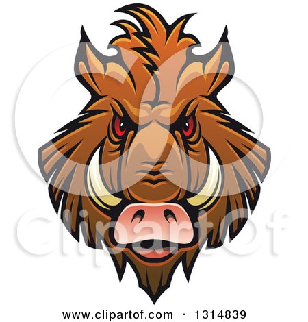 Clipart of a Brown Vicious Razorback Boar Mascot Head 4 - Royalty Free Vector Illustration by Vector Tradition SM