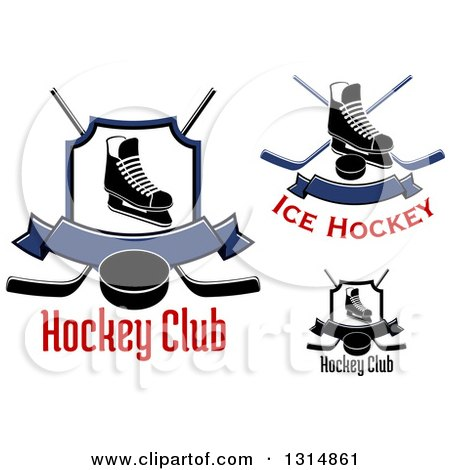 Clipart of Ice Skates, Crossed Hockey Sticks, Banners, Pucks and Shields with Text - Royalty Free Vector Illustration by Vector Tradition SM