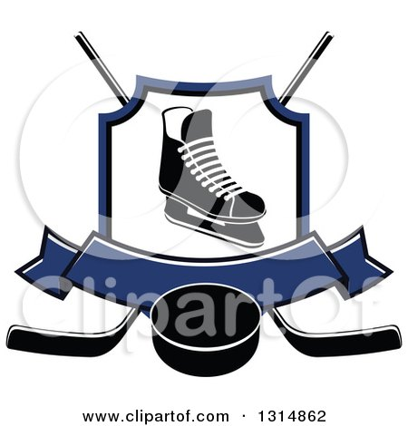 Clipart of a Black and White Ice Skate in a Shield over Crossed Hockey Sticks, a Blue Banner and Puck - Royalty Free Vector Illustration by Vector Tradition SM