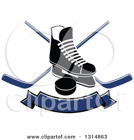 Clipart of a Black and White Ice Skate over Crossed Hockey Sticks, a Blue Banner and Puck - Royalty Free Vector Illustration by Vector Tradition SM