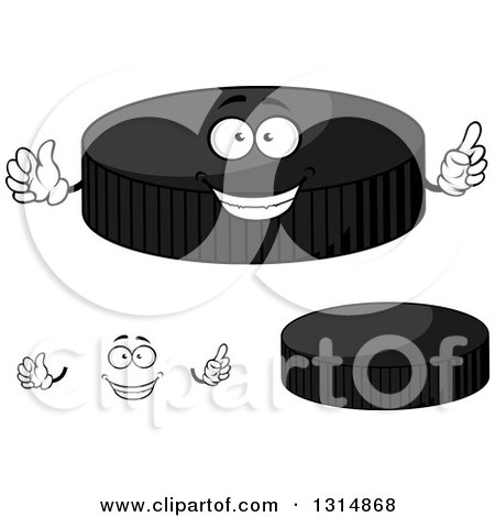 Clipart of a Cartoon Face, Hands and Grayscale Hockey Pucks - Royalty Free Vector Illustration by Vector Tradition SM