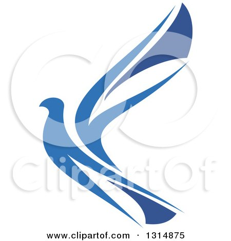 Clipart of a Blue Flying Peace Dove - Royalty Free Vector Illustration by Vector Tradition SM