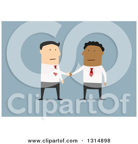 Clipart of a Flat Design of White and Black Business Men Shaking Hands on a Deal, over Blue - Royalty Free Vector Illustration by Vector Tradition SM