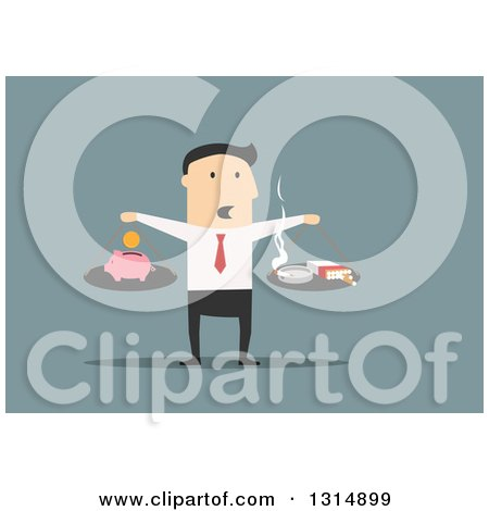 Clipart of a Flat Design White Businessman Scale Comparing the Cost of Smoking over Blue - Royalty Free Vector Illustration by Vector Tradition SM