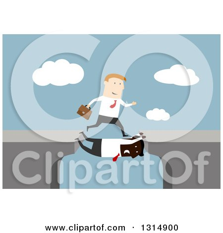 Clipart of a Flat Design White Businessman Taking Advantage of a Black Man Filling in a Gap Between Cliffs, on Blue - Royalty Free Vector Illustration by Vector Tradition SM