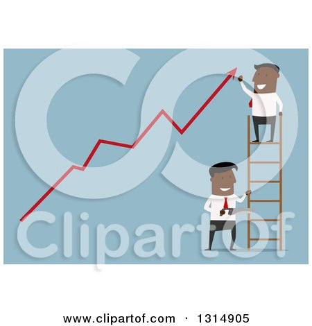 Clipart of a Flat Design Black Businessman on a Ladder Cheering over a Growth Arrow While Someone Cuts the Ladder, on Blue - Royalty Free Vector Illustration by Vector Tradition SM