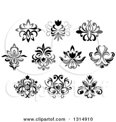 Clipart of Black and White Vintage Floral Design Elements 13 - Royalty Free Vector Illustration by Vector Tradition SM