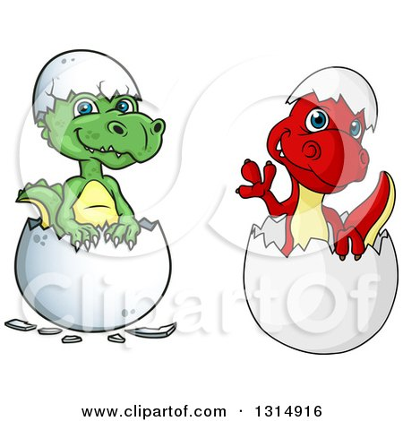 Clipart of Cute Green and Red Hatching Dinosaurs - Royalty Free Vector Illustration by Vector Tradition SM