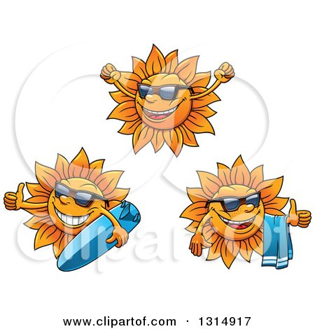 Clipart of Cartoon Happy Summer Sun Characters Wearing Shades, Cheering, Holding a Towel and Surf Board - Royalty Free Vector Illustration by Vector Tradition SM
