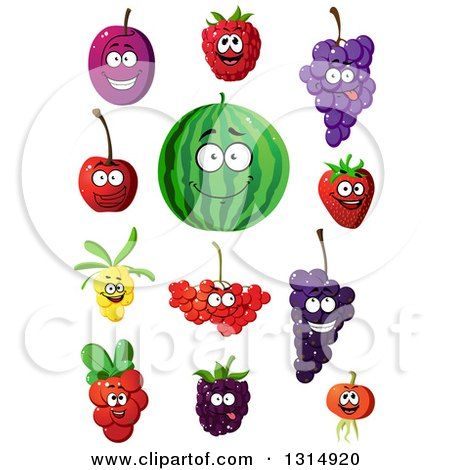 Clipart of Cartoon Happy Plum, Raspberry, Grapes, Strawberry, Watermelon, Cherry, Currants and Blackberry Characters - Royalty Free Vector Illustration by Vector Tradition SM