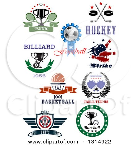 Clipart of Tennis, Soccer, Hockey, Bowling, Billiards, Basketball, Ping Pong, Darts and Baseball Sports Designs with Text - Royalty Free Vector Illustration by Vector Tradition SM