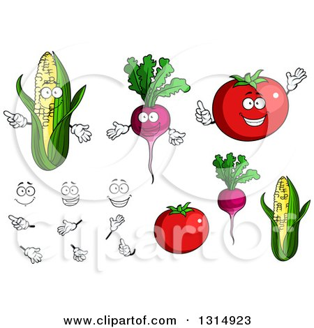 Cartoon Faces, Hands, Corn, Beets and Tomatoes Posters, Art Prints