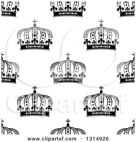 Clipart of a Seamless Background Pattern of Black and White Ornate Crowns 6 - Royalty Free Vector Illustration by Vector Tradition SM