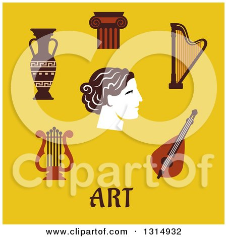 Clipart of a Flat Design of Classical and Musical Lyre, Amphora, Capital on a Column, Harp and Head with Text over Yellow - Royalty Free Vector Illustration by Vector Tradition SM