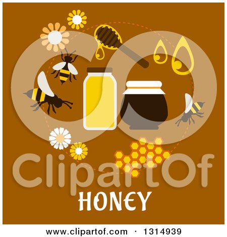 Clipart of a Flat Design Circle of Honey Icons with Text on Brown - Royalty Free Vector Illustration by Vector Tradition SM