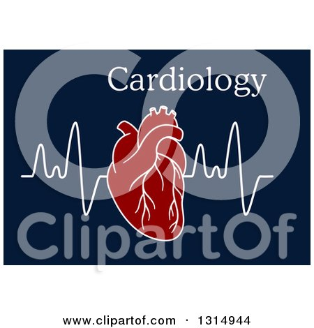 Clipart of a Human Heart over an Electrocardiogram Graph and Text on Blue - Royalty Free Vector Illustration by Vector Tradition SM