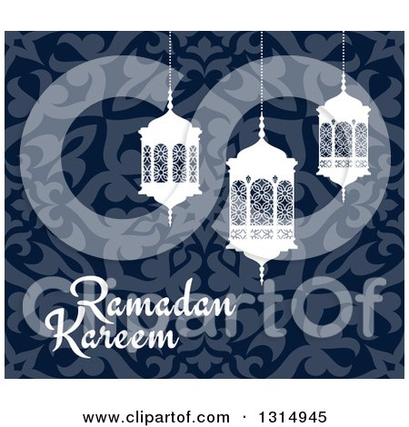 Clipart of a Ramadan Kareem Greeting with White Lanterns over a Blue Pattern 3 - Royalty Free Vector Illustration by Vector Tradition SM