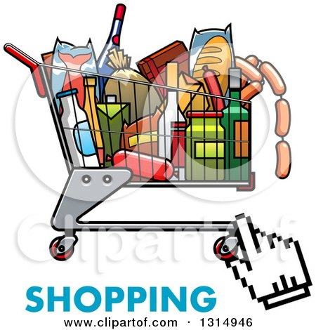 Clipart of a Black and White Hand Cursor over a Shopping Cart ...