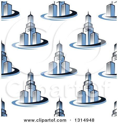 Clipart of a Seamless Background Pattern of Blue Towers and City Skyscrapers - Royalty Free Vector Illustration by Vector Tradition SM