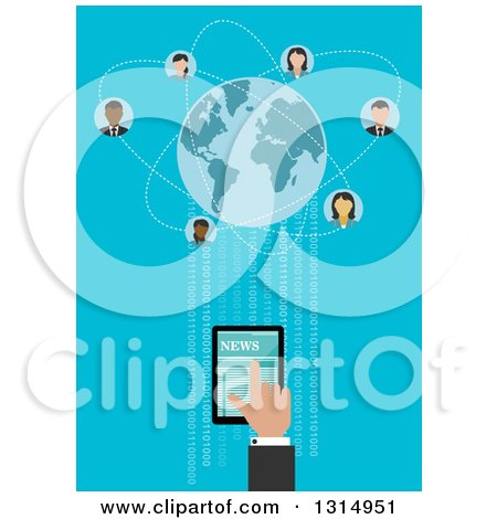 Clipart of a Flat Design of a Hand Using a Tablet Computer to Connect with People Around the Globe, with Binary Code on Blue - Royalty Free Vector Illustration by Vector Tradition SM
