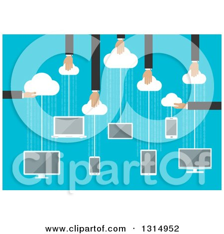 Clipart of a Flat Design of Hands Holding Clouds with Hanging Electronic Devices for Storage, over Binary Code on Blue - Royalty Free Vector Illustration by Vector Tradition SM