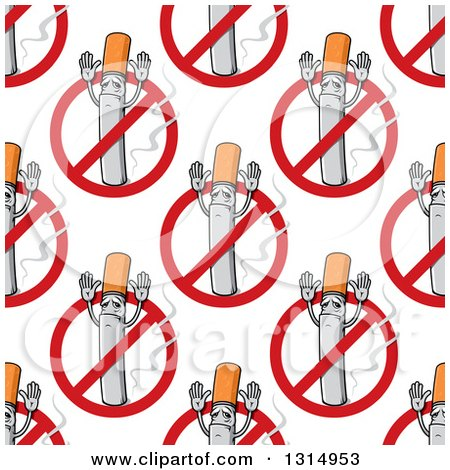 Clipart of a Seamless Pattern Background of Cigarettes Holding up Their Arms and No Smoking Symbols - Royalty Free Vector Illustration by Vector Tradition SM