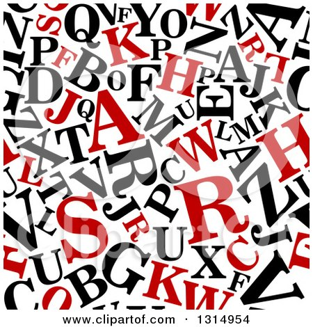 Clipart of a Seamless Background Pattern of Red and Black Capital Letters on White - Royalty Free Vector Illustration by Vector Tradition SM