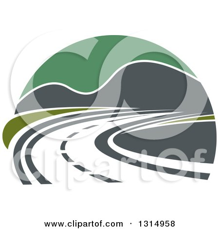 Clipart of a Curving Highway Road and Mountains with Green Sky - Royalty Free Vector Illustration by Vector Tradition SM