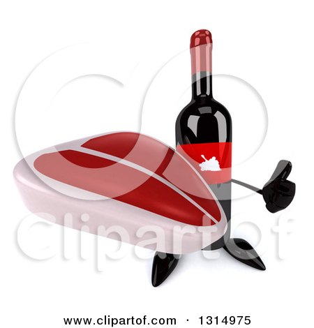 Clipart of a 3d Wine Bottle Mascot Holding up a Thumb and a Beef Steak - Royalty Free Illustration by Julos