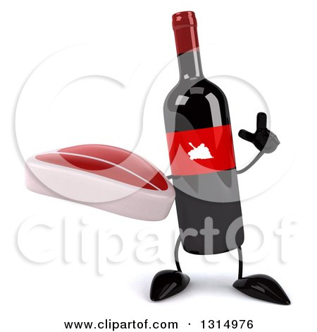 Clipart of a 3d Wine Bottle Mascot Holding up a Finger and a Beef Steak - Royalty Free Illustration by Julos