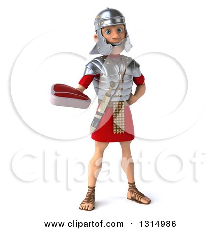 Clipart of a 3d Young Male Roman Legionary Soldier Holding a Beef Steak - Royalty Free Illustration by Julos