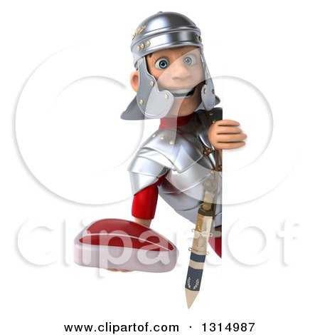 Clipart of a 3d Young Male Roman Legionary Soldier Holding a Beef Steak Around a Sign - Royalty Free Illustration by Julos