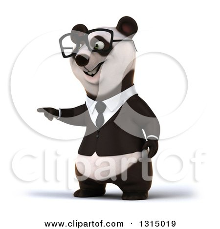 Clipart of a 3d Bespectacled Happy Business Panda Pointing - Royalty Free Illustration by Julos
