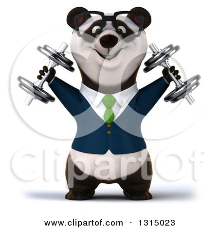 Clipart of a 3d Bespectacled Business Panda Working Out, Doing Shoulder Presses with Dumbbells - Royalty Free Illustration by Julos