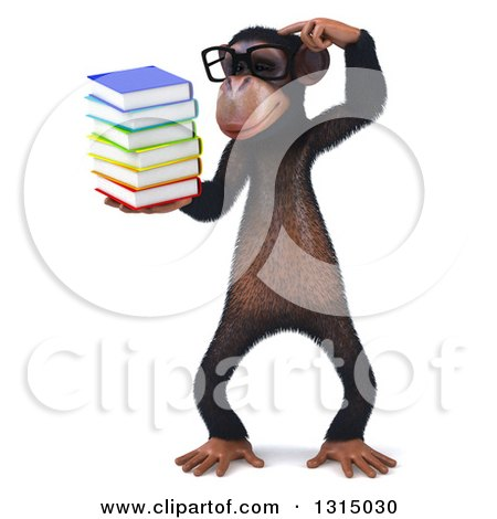Clipart of a 3d Bespectacled Chimpanzee Thinking and Holding a Stack of Books - Royalty Free Illustration by Julos