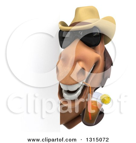 Clipart of a 3d Brown Cowboy Horse Wearing Sunglasses and Drinking Tea Around a Sign - Royalty Free Illustration by Julos