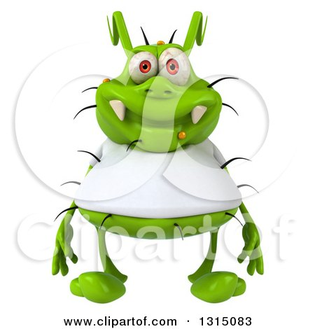 Clipart of a 3d Green Germ Virus Wearing a White T Shirt - Royalty Free Illustration by Julos