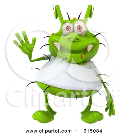 Clipart of a 3d Green Germ Virus Wearing a White T Shirt, Waving - Royalty Free Illustration by Julos