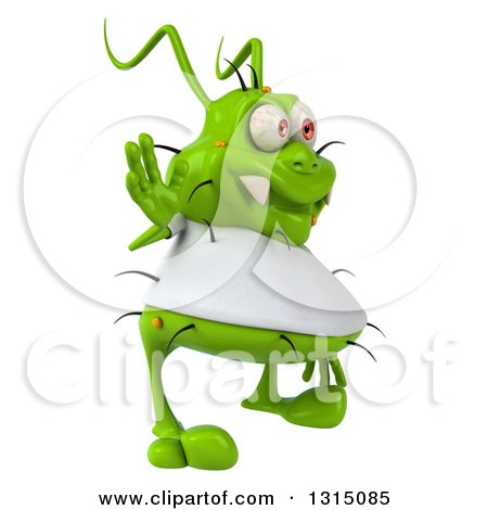 Clipart of a 3d Green Germ Virus Wearing a White T Shirt, Facing Right and Waving - Royalty Free Illustration by Julos