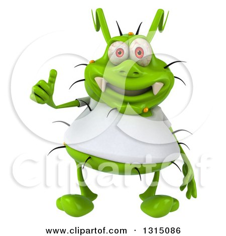 Clipart of a 3d Green Germ Virus Wearing a White T Shirt, Giving a Thumb up - Royalty Free Illustration by Julos