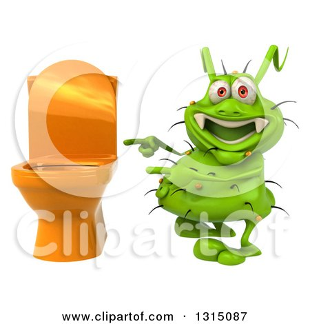 Clipart of a 3d Green Germ Virus Pointing to a Toilet - Royalty Free Illustration by Julos
